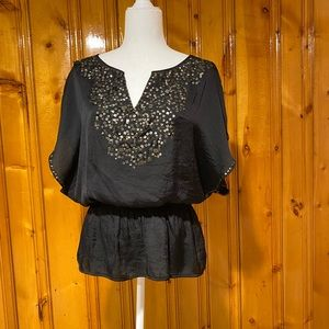 Mustard Seed black silky top with sequins
